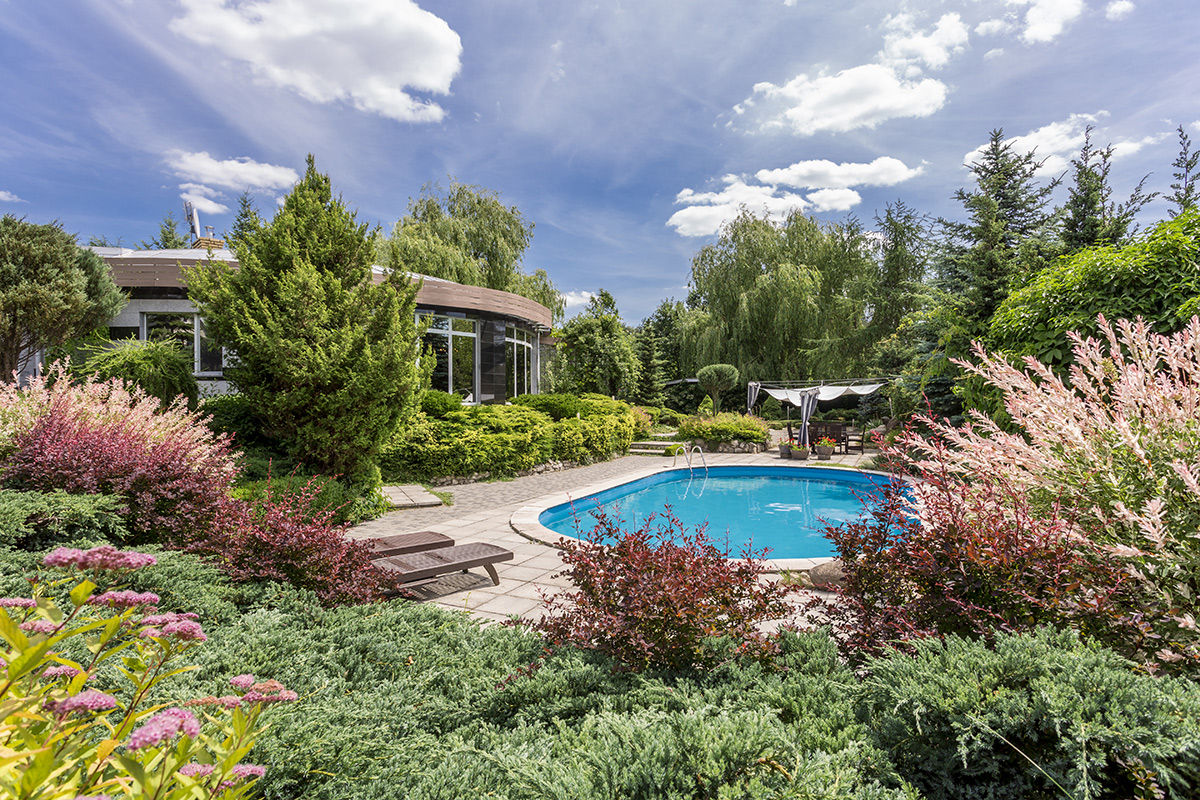 Lush landscaping is just one of the features you can add to your Kelowna pool to create an outdoor retreat.